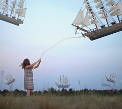 sky sailing (mbg580) Tags: portrait sky girl field sailboat sailing wind dusk rope