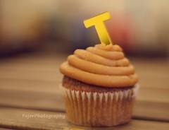 T (Fajer Alajmi) Tags: wood caramel cupcake letter