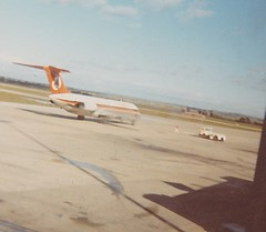 Ansett Airlines at Tullamarine, Melbourne, 1974 (MurrayJoe) Tags: 1974 airport cropped tas launceston tullamarine ansett ansettairlines