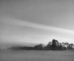 swedish winter (iduberga) Tags: winter blackandwhite house fog countryside blackwhite sweden side country grain foggy swedish grainy iphone iphonephotography