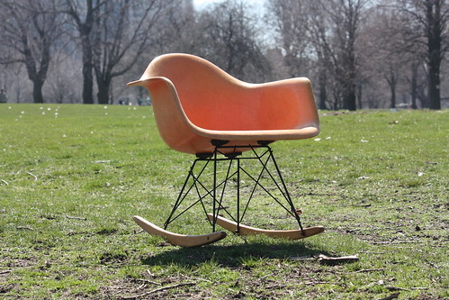 Exhilarating Early Eames Salmon RAR Rocker for Herman Miller (U.S.A., 1950s)