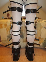 Rear Picture of the Tibia Cuff Braces (KAFOmaker) Tags: leather fetish braces boots leg confine bondage medical cuff buckle brace straps bracing restraint orthopedics restrain orthopedic strapped braced strapping restrict restaints