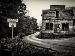 The End (Jeff Damron) Tags: road building abandoned glow nik