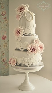 Lace Birdcage wedding cake by Cotton and Crumbs