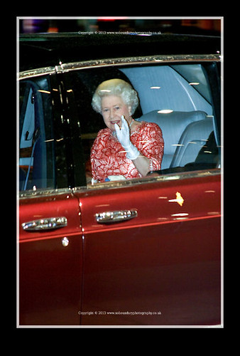 HRH Queen Elizabeth II waves from her car-Bunch of Ameteurs Royal Film Performance-