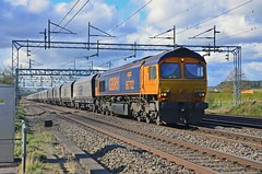 66702 Stableford 260413 (wwatfam) Tags: railroad england west electric coast diesel britain main trains goods line locomotive railways staffordshire freight hoppers biomass wcml stableford gbrf 66702