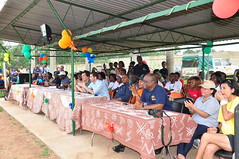 Dignitaries watching football march at Sportsfest 2013 (IITA Image Library) Tags: sport football dignitaries audiences recreationalactivities sportsfest2013