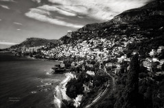 Corniche : between Menton and Monaco (Le Xuan-Cung) Tags: morning autumn blackandwhite bw sun sunlight fall clouds relax landscape daylight seaside lightsandshadows nikon mood village noiretblanc dream streetshots streetphotography wave atmosphere streetlife streetscene nb ctedazur sw sunnyday southernfrance polfilter livinginfrance nikond1h circularfilter lightsanddarks mediterraneanbasin cornichen provencealppesctedazur livinginprovencealppesctedazur livinginctedazur livinginsouthernfrance betweenmentonandmonaco
