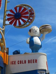 Ice Cold Beer, Coney Island, NYC (Timbo_a_go_go) Tags: red cold ice beer up statue island lights burger illuminations bluesky coney thumbs attraction