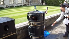 Singing in a Bin at Kings College Cambridge (Richie Wisbey) Tags: cambridge brown film college girl was video flickr singing head song over bin well litter explore kings richard his eyed busker bent wisbey richardwisbey