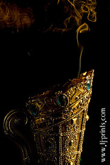 Censer III (TJ.Photography) Tags: lamp metal handle fire gold golden shiny glow perfume shine treasure stones metallic smoke smoking burning flame burn ornament smell oriental orient smoker burner artifact aromatic item incense luster jewel odor artefact aroma engrave smelling censer cense