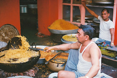 (Julie Stutzman) Tags: street camera city travel india color men film cooking analog 35mm photography asia day walk working oil jaipur rajasthan