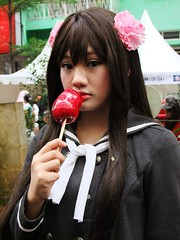 would you give me the candy, Miss? (yusuf ks) Tags: portrait apple festival japan indonesia tokyo candy little jakarta nippon matsuri ringo ame jepang blokm 2013 melawai ennichisai