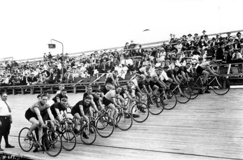 Cyclists prepared for a race: Miami, Florida