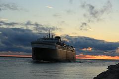Made it! (GLC 392) Tags: sunset ohio orange lighthouse lake water car wall ferry clouds waves break michigan smoke system co rough coal chesapeake chessie seas lmc ludington carferry