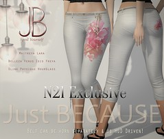 Just BECAUSE - Jen Capris - N21 Exclusive (Just BECAUSE_SL) Tags: flowers sexy capri beads belt pants mesh butt sl just event hibiscus booty secondlife short slacks string jb tied hud bows exclusive because belleza capris fitted maitreya slink n21