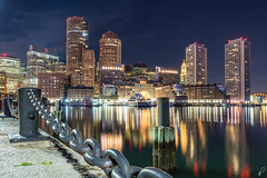 Boston [Explored] (Empty Quarter) Tags: sony a7r 2470 f4 boston massachusetts ma city downtown core financial district pier waterfront south urban skyline night longexposure atlantic ocean harbour buildings