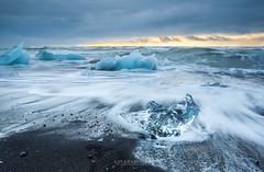 sunrise at Ice beach,  jokulsarlon, Iceland. (Kanonsky) Tags: arctic beach beautiful black blue cloudy cold europe glacier ice iceberg iceland jokulsarlon lagoon landscape nature north ocean sand sea sunrise volcanic wave winter