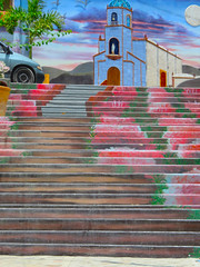 Chapala - stairs ascending to church (UrbanGrammar) Tags: urban new urban urbanism streets traffic pedestrian realm fused grid zones main street culdesac loop neighbourhood street patterns healthy urbanism mobility accessibility tranquility safety delight infrastructure connectivity urban park carfree adaptation mixeduse chapala mexico
