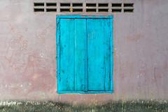 Painted wall with blue door (herr loeffler) Tags: angkorwat asia asien cambodia siemreap blue color door paint texture window krongsiemreap kh