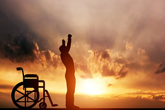 A disabled man standing up from wheelchair. Medical miracle. (lisame0511) Tags: disabled medical wheelchair miracle cure invalid happy recovery health positive silhouette outline patient man up outdoors concept person disability insurance raise hope handicap outside mobility physical people standing therapy strong wish broken healthcare success equal hands equality handicapped help problem overcoming overcome leg rehabilitation sunset heal fun sun stand rise germany