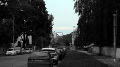 Street in the morning (ntemptm) Tags: city citylife cloud morning nopeople outdoor parked parking road sky street streetphotography trees bw color neutraldensity