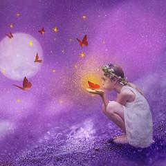 La plante aux papillons (lilouha) Tags: lilouha papillons surraliste photomontage photomanipulation lune toiles violet rve imaginaire