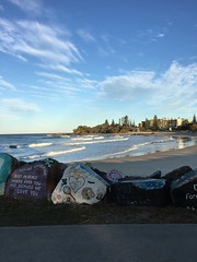 Painted rocks ☀️ (Gabbie98) Tags: quality iphone youngphotographer photograph yellow blue wind cold spring winter summer sun sunny mural painting art rocks graffiti city sky sand waves water beach