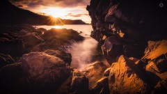 Faces in the Rocks (Augmented Reality Images (Getty Contributor)) Tags: canon cliffs clouds landscape leefilters longexposure morayshire portknockie rocks scotland seascape summer sun sunset water