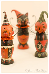 Johanna-Parker-Egg-Cups (Johanna Parker Design) Tags: johannaparker halloween folkart originals collectible whimsical sculpture handmade oneofakind jackolantern jol blackcat cat