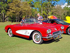 1958-60 Chevrolet Corvette, Black Diamond Car Show (StevenM_61) Tags: carshow car automobile chevrolet corvette coupe 1958 1959 1960 red lecanto florida