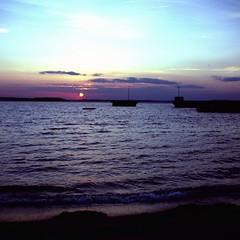 Sunset on Middle Bay from Mitchell Field (JBAdams) Tags: frankasolidaiii franka film foldingcamera vintagecamera velvia velvia100 120film mediumformat squareformat bsquare analog manualfocus schneiderkreuznachradionar8029 schneiderkreuznach rangefinder uncoupledrangefinder maine incidentmetered cloudsstormssunsetssunrises sunset sea seascape seashore sky