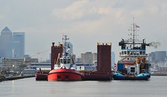 Tugs + Dina Launcher (2) @ KGV Dock 15-10-16 (AJBC_1) Tags: london ship boat vessel dlrblog england unitedkingdom uk ajc northwoolwich eastlondon newham londonboroughofnewham tug tugboat nikond3200 shipsinpictures dutchblue londonsroyaldocks royaldocks offshoresupportvessel hollandoffshorerederijbv kinggeorgevdock kgvdock dinalauncher barge submersiblebarge myklebusthaugmanagementas zpbear kotugsmittowage docklands canarywharf citybuilding cityskyline londoncityskyline