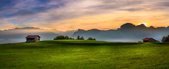 Retreat (marco soraperra) Tags: mountains landscape house hat grass field mountauns sun sunlight sunset light shadow sky clouds autumn outdoor verde green yellow pastell nikon nikkor panorama mood fog misty
