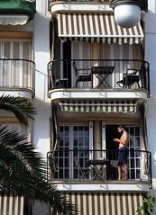 sitges 2016 (gerben more) Tags: sitges shirtless man cellphone balcony spain beard handsomeman