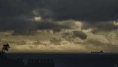 Horizon ship (Anthony Goodall) Tags: sea seascape landscape ship morning sunrise early clouds chimney approaching boat