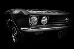 Opel Manta 1900 GT/E 1974 (BartvanDam) Tags: 1900gte opel manta classiccar german ricohgr bartvandam monochrome headlight portrait