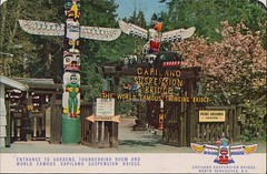 Entrance To Gardens, Thunderbird Room, And World Famous Suspension Bridge, North Vancouver, BC (SwellMap) Tags: postcard vintage retro pc chrome 50s 60s sixties fifties roadside midcentury populuxe atomicage nostalgia americana advertising coldwar suburbia consumer babyboomer kitsch spaceage design style googie architecture