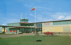 Municipal Air Terminal, Calgary, Alberta (SwellMap) Tags: postcard vintage retro pc chrome 50s 60s sixties fifties roadside midcentury populuxe atomicage nostalgia americana advertising coldwar suburbia consumer babyboomer kitsch spaceage design style googie architecture airplane jet airliner airport