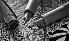 Zentangled (Anne Worner) Tags: 01mm anneworner em5 olympus ppep pens silverefex zentangle bw blackandwhite cap closeup drawing drawinginstrument fineliner macro permanent tangle