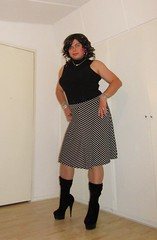 a lady in a decent skirt (Barb78ara) Tags: skirt longskirt stripedskirt stockings nylon boots highheels highheelboots stilettoheels stilettoboots highheeled blacktop turtlenecktop secretary sexytgirl tgirlsecretary