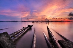 ... pipeline ... (Jazpar) Tags: blue beach sunrise golden singapore seascapes pipes hours waterscapes