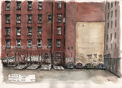 Parking Lot on Hudson (Peter KOVAL) Tags: nyc newyorkcity ink watercolor graffiti arches tribeca koval disappearing schminke danielsmith