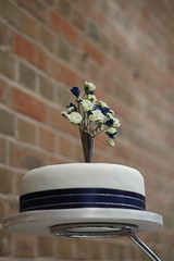 Top tier (Joybot) Tags: flowers blue wedding white brick cake wall weddingcake spray ribbon weddingday tier redbrick toptier