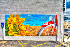 Wichita, KS rural mural HDR (hz536n/George Thomas) Tags: art bicycle sign spring mural paint wheat bricks may sunflower kansas canon5d wichita hdr smrgsbord photomatix ef1740mmf4lusm 2013 cs5