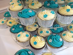 Turquoise and cream wedding cupcakes (Little Miss Cupcakes) Tags: flowers wedding tower cupcakes little turquoise cream cupcake leamington miss warwick spa avon warwickshire stratford upon kenilworth