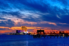 Biloxi, Mississippi at sunset (CarmenSisson) Tags: city sunset vacation usa gambling tourism beach gulfofmexico water skyline mississippi coast town waterfront gulf south casino ms destination leisure biloxi gulfcoast