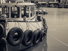 Tugs Life [Explored] (ShrubMonkey (Julian Heritage) Also on ipernity) Tags: old water docks island mono boat spice working portsmouth tugboat tug tyres butchers camber moored
