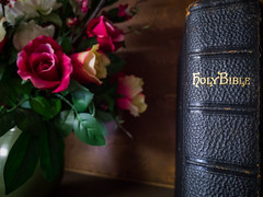 Around the Church: Leather Bible on a Shelf (Entropic Remnants) Tags: pictures life old church photography photo still image photos pics colonial picture pic images panasonic photographs photograph f28 remnants entropic gx1 1235mm dmcgx1