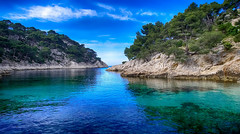 Calanque de Port Pin (Cassis) (Malain17) Tags: mditerrane plage provence turquoise sky france clouds perspective image photography photographers pentax flickr colors rochers arbres capture waterscape wow
